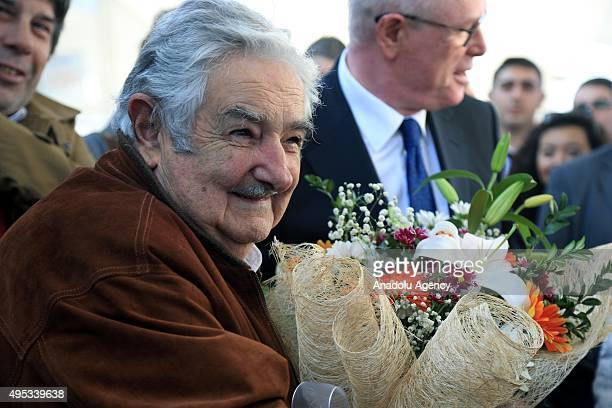 The former president of Uruguay Jose Mujica is welcomed with flowers as he arrives in Eskisehir in order to attend the events organized by Odunpazari...