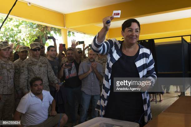 The former presidential candidate of the Frente Amplio party Beatriz Sanchez shows her ballot before castin during presidential election at...