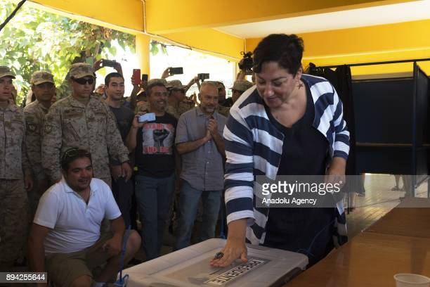 The former presidential candidate of the Frente Amplio party Beatriz Sanchez casts her ballot during presidential election at municipality of Nunoa...