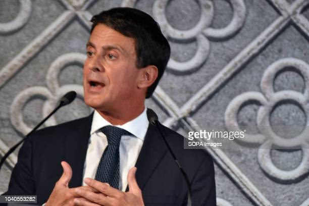 The former Prime Minister of France Manuel Valls seen speaking in the city of Barcelona during his presentation for his candidacy for the mayoralty...
