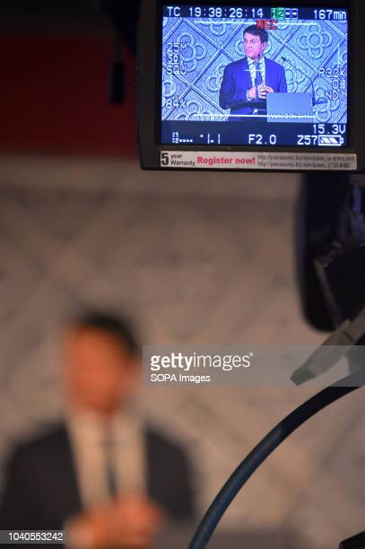 The former Prime minister of France Manuel Valls seen speaking live on the television in the city of Barcelona during his presentation for his...