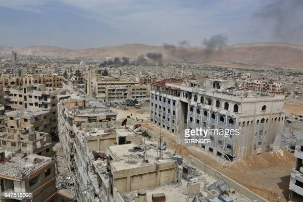 The former rebel Syrian town of Douma on the outskirts of Damascus is seen on April 17 2018 after the Syrian army declared that all antiregime forces...