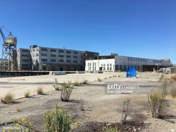 The former Southwest Marine shipyard which SpaceX has leased to build its BFR rocket and spaceship is pictured on September 17 2018 at the Port of...