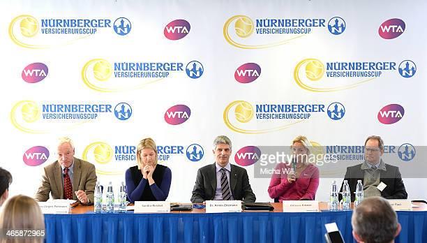 The former tennis player HansJuergen Pohmann tournament director Sandra Reichel chairman Dr Armin Zitzmann of the Nuernberger Versicherungsgruppe...