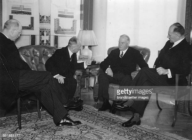 The former US President Herbert Hoover hosted in Prague In an interview with President Edvard Benes Far right the Czechoslovak Prime Minister Milan...