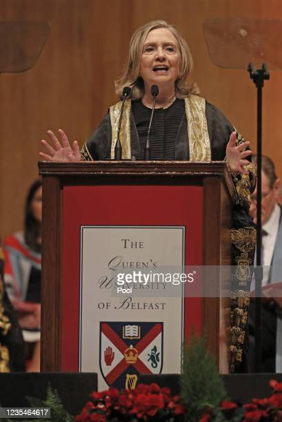 The former US secretary of state, Hillary Clinton, is installed as the chancellor of Queen's University during a ceremony at the Belfast academic...