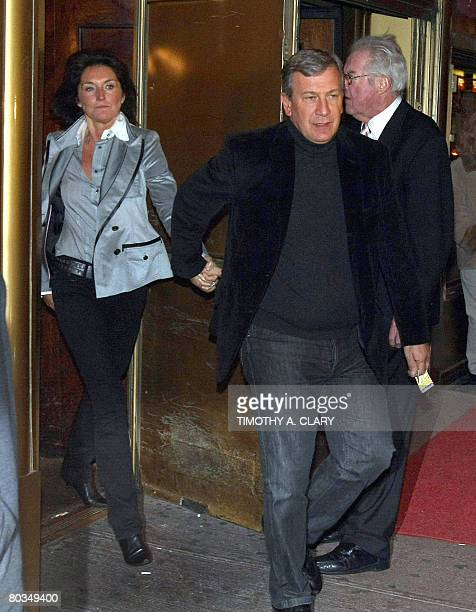 The former wife of French President Nicolas Sarkozy Cecilia CiganerAlbeniz and her fiance Richard Attias leave Gallaghers Steak House in New York on...