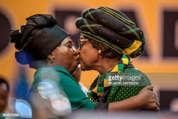 TOPSHOT The former wife of the late South African President Nelson Mandela antiapartheid campaigner Winnie Mandela and the candidate for the African...
