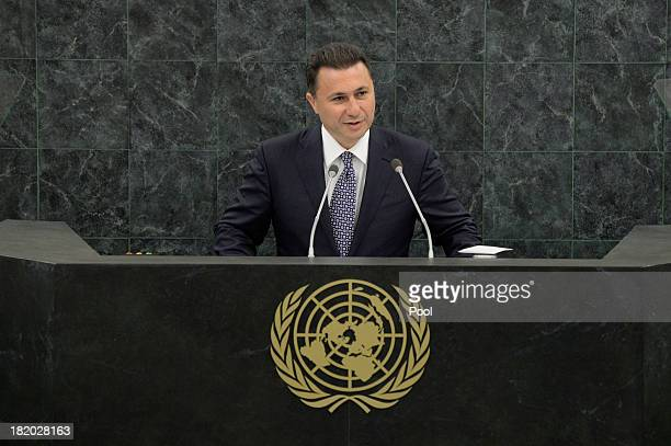 The former Yugoslav Republic of Macedonia Prime Minister Nikola Gruevski speaks during the 68th United Nations General Assembly at UN headquarters on...