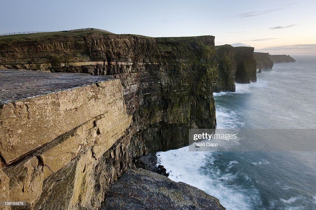 The formidable Cliffs of Moher, a 702 ft high cliff face consisting of five outcrops, County Clare, Republic of Ireland, 1st March 2009 : Stock Photo