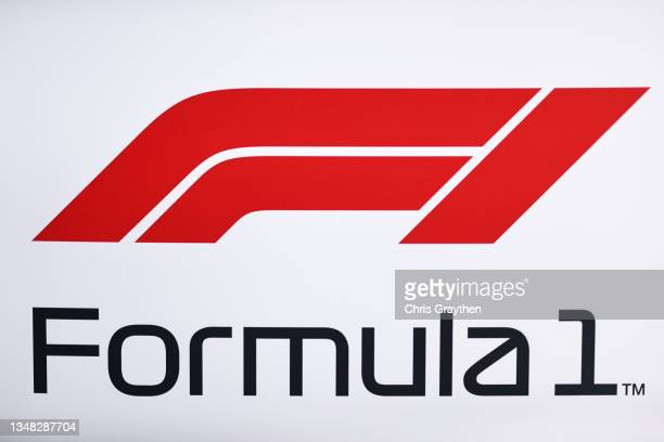 The Formula 1 logo in the Paddock during final practice ahead of the F1 Grand Prix of USA at Circuit of The Americas on October 23, 2021 in Austin,...
