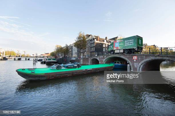 The Formula E car arrives on a boat at the Jan Vinckbrug bridge prior to the announcement of Heineken becoming an official partner of the ABB FIA...