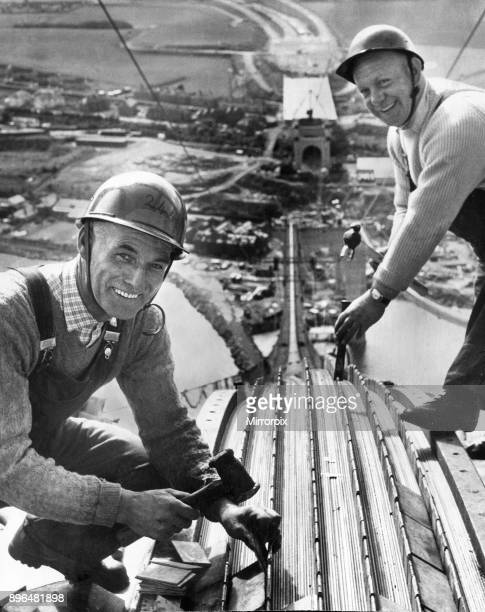 The Forth Road bridge from South Queensferry to North Queensferry during construction Workmen Robert Orr and David Gillies on the bridge 512 feet...