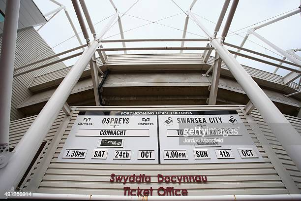 The forthcoming fixtures are displayed prior to the Barclays Premier League match between Swansea City and Tottenham Hotspur at Liberty Stadium on...