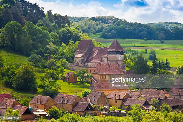 the fortified church and town of copsa mare - sibiu stock-fotos und bilder