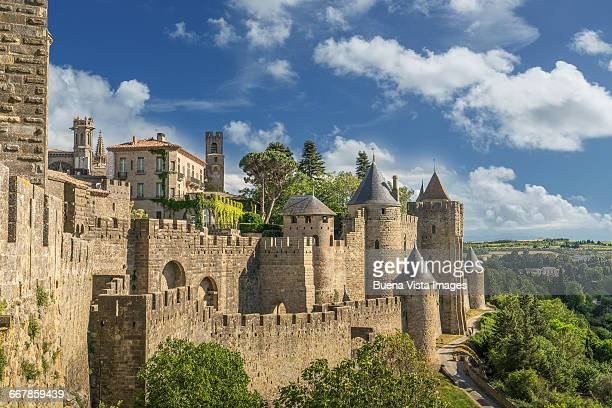 the fortified city of carcassonne - carcassonne stock pictures, royalty-free photos & images