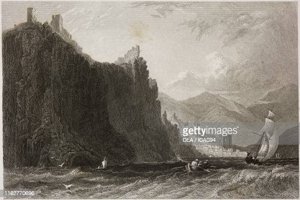 The fortified cliffs of Alanya coast of Karamania Turkey engraving by H Adlard after a drawing by W H Bartlett from La Siria e l'Asia minore...