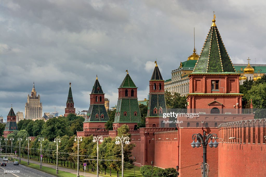 The Fortified Walls of Moscow Kremlin in Russia : Stock Photo