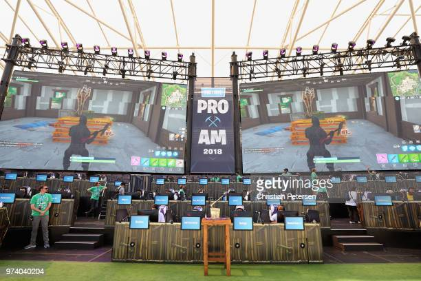 The Fortnite trophy is displayed as gamers compete in the Epic Games Fortnite E3 Tournament at the Banc of California Stadium on June 12 2018 in Los...