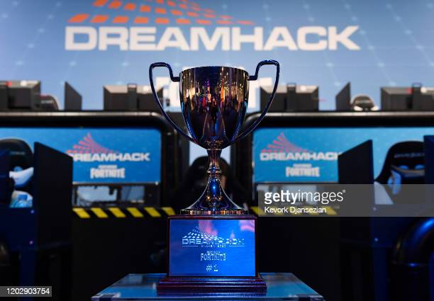 The Fortnite trophy is on display during DreamHack Anaheim 2020 at Anaheim Convention Center on February 23 2020 in Anaheim California