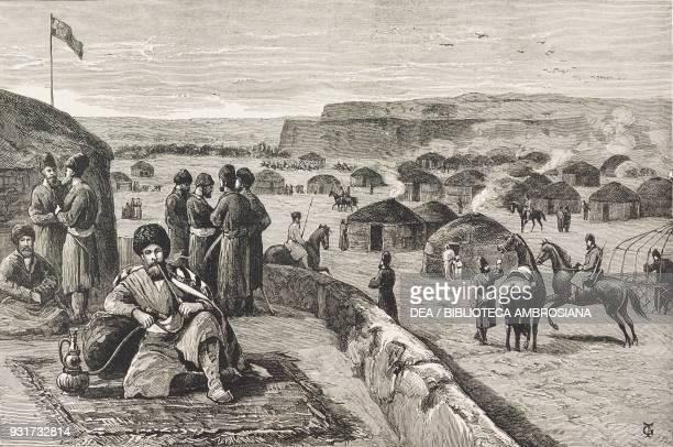 The fortress of Merv Edmond O'Donovan smoking the hookah Turkmenistan Edmund O'Donovan's journey through central Asia illustration from the magazine...