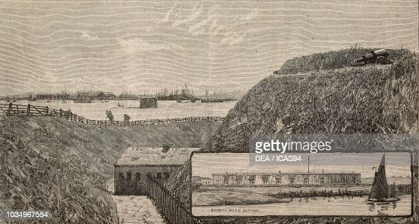 The forts at the mouth of the Thames and Medway Grain Fort showing Garrison Point Fort and Martello Tower Shornemead Fort United Kingdom engraving...