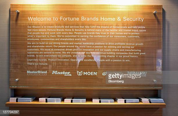 The Fortune Brands Home Security Inc mission statement is displayed at the company's office in Deerfield Illinois US on Friday Sept 30 2011 Fortune...