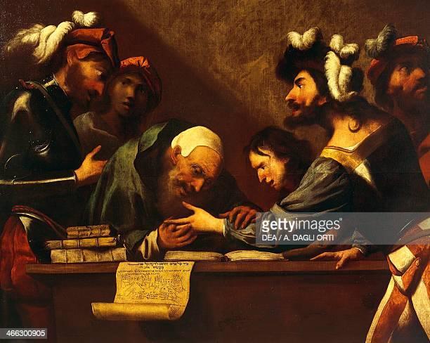 The fortune teller by Pietro della Vecchia oil on canvas Detail Italy 17th century