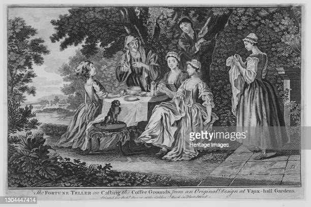 The Fortune Teller on Casting the Coffee Grounds, from an Original Design at Vaux-hall Gardens, 1748-60. Artist Unknown.