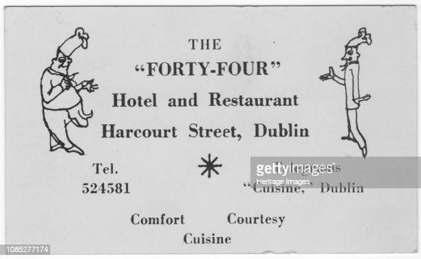 The 'FortyFour' restaurant card circa 1955 Card advertising a restaurant in Harcourt Street Dublin Ireland illustrated with chefs Artist Shirley...