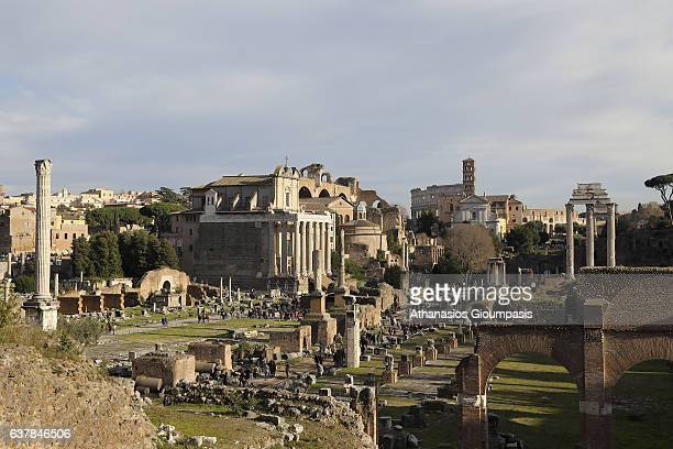 The Forum Romanum from north east from above the Portico Dii Consentes on December 31 2016 in Rome Italy The Roman Forum is a rectangular forum...