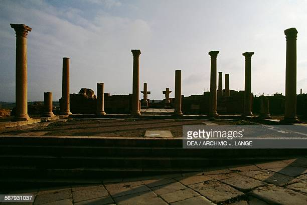 The Forum ruins of the Roman city of Timgad founded in ca 100 AD by order of Trajan Algeria