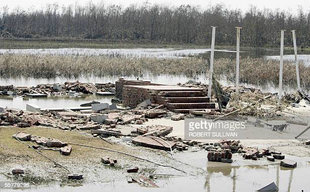 The foundation is all that remains of a house washed away on highway 27 in the southwestern costal town of Creole Louisiana 26 September 2005 Rescue...