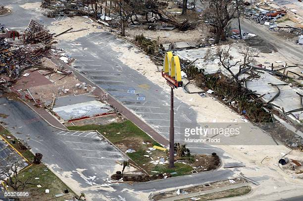 The foundation is all that's left of a McDonalds fast food restaurant flattened by Hurricane Katrina September 9 2005 in Pass Christian Mississippi...