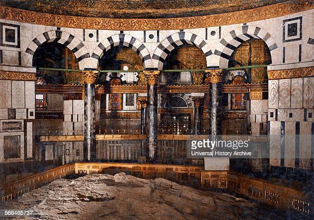 The foundation stone inside the Dome of the Rock located on the Temple Mount in the Old City of Jerusalem It was initially completed in 691 CE...
