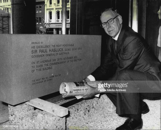 The Foundation stone of St Andrews House originally laid by Sir Paul Hasluck when GovernorGeneral exactly three years ago was relocated in the newly...