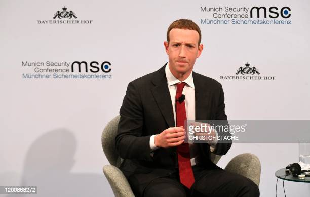The founder and CEO of Facebook Mark Zuckerberg speaks during the 56th Munich Security Conference in Munich, southern Germany, on February 15, 2020....