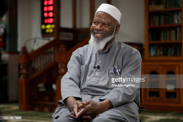 The founder of Masjid AtTaqwa and one of the leaders of Islamic society in the US Imam Siraj Wahhaj gestures as he speaks about Malcolm X on the 55th...