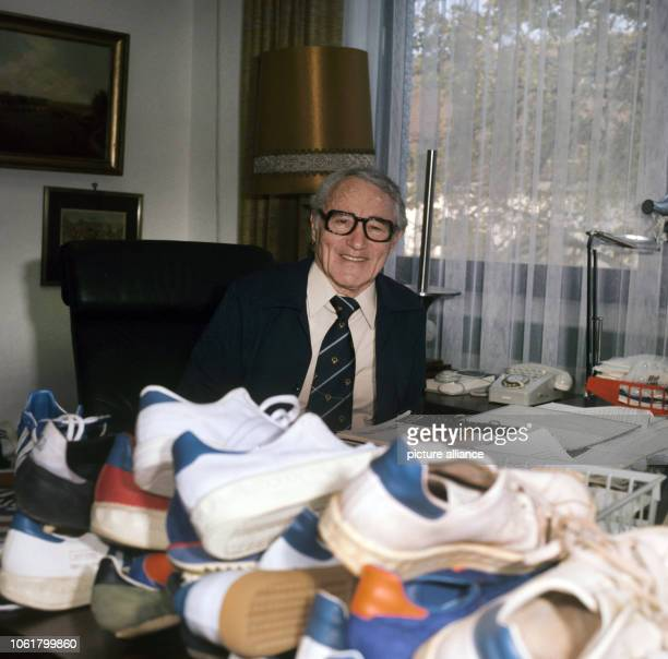 The founder of the German sportswear company Adidas Adolf Dassler is pictured in his office in Herzogenaurach in the year 1975 | usage worldwide