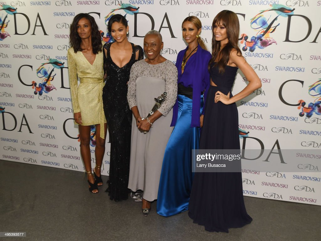 The Founders award in honor of Eleanor Lambert recipient Bethann Hardison (C) poses with Liya Kebede, Chanel Iman, Iman and Joan Smalls at the winners walk during the 2014 CFDA fashion awards at Alice Tully Hall, Lincoln Center on June 2, 2014 in New York City.