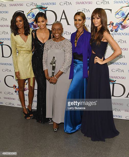The Founders award in honor of Eleanor Lambert recipient Bethann Hardison poses with Liya Kebede Chanel Iman Iman and Joan Smalls at the winners walk...