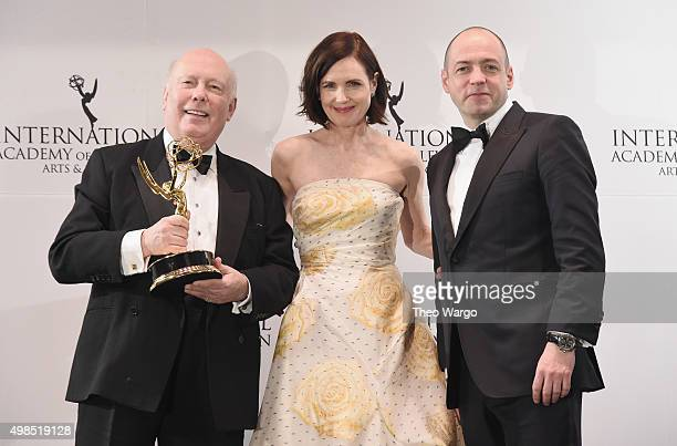 The Founders Award recipient Writer Creator 'Downton Abbey' Julian Fellowes celebrates with presenters Elizabeth McGovern and Gareth Neame at 43rd...