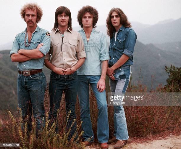 The founding members of The Eagles stand on the edge of Topanga Canyon | Location Topanga Canyon Los Angeles California USA