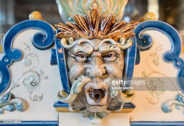 The fountain head of a milk fountain in the salesroom at 'Pfunds Molkerei' milk shop listed as a historical monument in Dresden Germany 10 December...