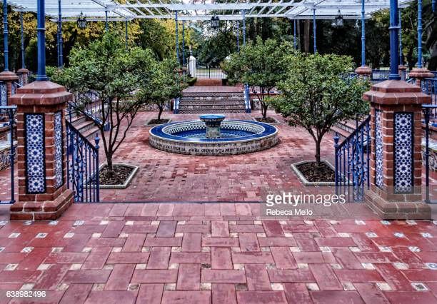 the fountain in patio andalusian - palermo buenos aires stock photos and pictures