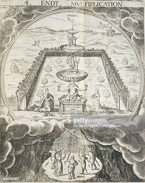 The fountain of life illustration from the Cabala The mirror of art and nature in alchemy by Stephan Michelspacher Augsburg 1667 Germany 17th century