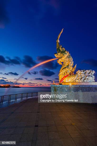 the fountain of naga statue at suan song talay in songkhla province, thailand. - merlion stock pictures, royalty-free photos & images