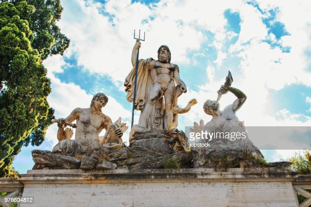 the fountain of neptune at popolo square in rome, italy - neptune roman god stock pictures, royalty-free photos & images