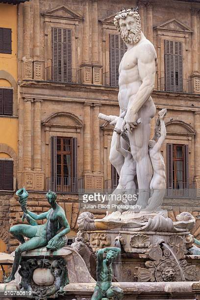 the fountain of neptune in piazza della signoria. - neptune roman god stock pictures, royalty-free photos & images