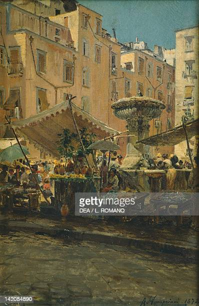 The fountain of Spells in the Basso Porto district of Naples by Alceste Campriani oil on canvas Italy 19th20th Century